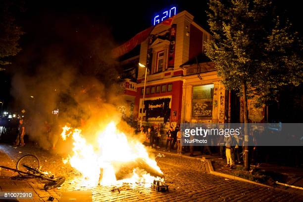 A barricade burns in front of the autonomous center Rote Flora in Hamburg Germany on July 6 2017 The police stopped the leftradical demonstration...
