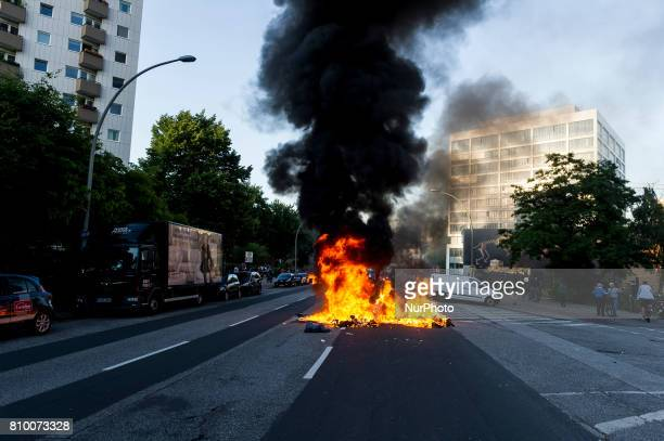 A barricade burns on a street in Hamburg Germany on July 6 2017 The police stopped the leftradical demonstration quotG20 Welcome to Hellquot and...