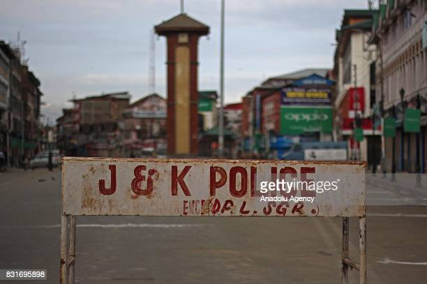 A barricade installed in city centre Lal Chowk by Jammu and Kashmir police during the official celebrations for India's Independence Day at Bakshi...