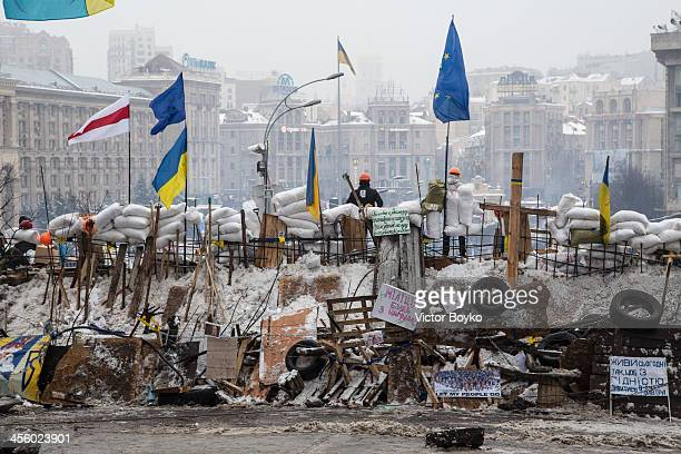 A barricade is left on Instytutska street near Maidan Square on December 12 2013 in Kiev Ukraine Thousands have been protesting against the Ukrainian...