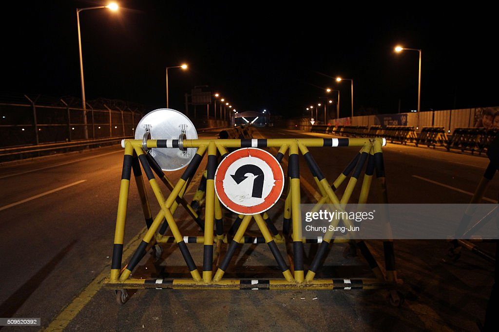 Barricades are placed on the road connecting South and North Korea at the Unification Bridge on February 11, 2016 in Paju, South Korea. South Korea announced on February 10, 2016 that the country would close an industrial complex jointly ran with North Korea, as the strongest response for North's recent nuclear test and rocket launch.