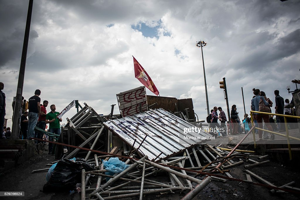 Barricades built by protestors block the police from entering Taksim square Protests in Istanbul Turkey continue into the sixth day Protests began as...