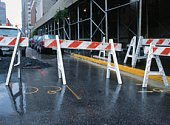 Barricades by a road construction site. New York, USA