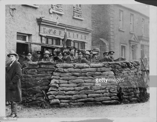 Barricades during the Irish riots following the Easter Rising Rebellions Dublin Ireland 19161920