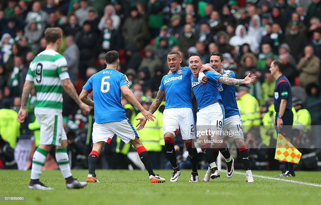 Barrie McKay (R) of Rangers celebrates with his team-mates after scoring their second goal during the Scottish Cup Semi Final between Rangers and Celtic at Hampden Park on April 17, 2016 in Glasgow, Scotland.