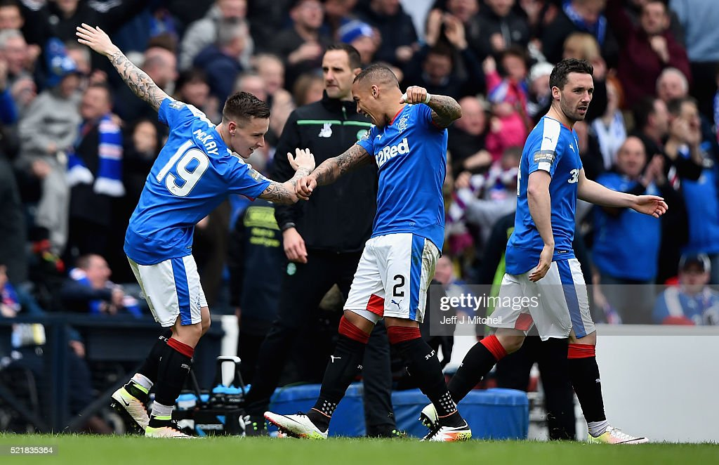 Barrie McKay (L) of Rangers celebrates with team-mate James Tavernier after scoring their second goalduring the William Hill Scottish Cup semi final between Rangers and Celtic at Hampden Park on April 17, 2016 in Glasgow, Scotland.