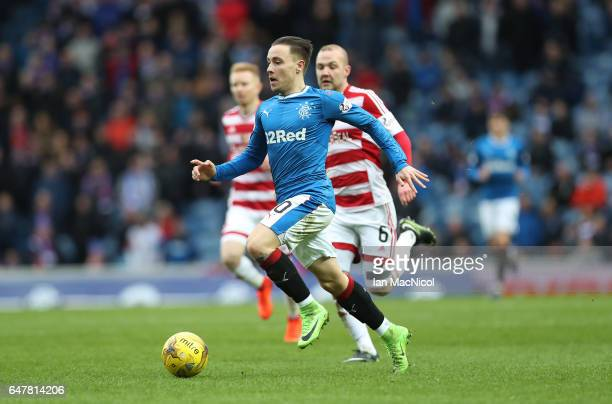 Barrie McKay of Rangers runs with the ball during the Scottish Cup Quarter final match between Rangers and Hamilton Academical at Ibrox Stadium on...