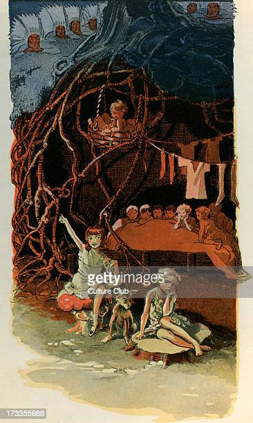 J M Barrie 's 'Peter Pan' 'The Home Under The Ground' Wendy sewing with lost boys Peter Pan and Indians above the ground James Matthew Barrie...