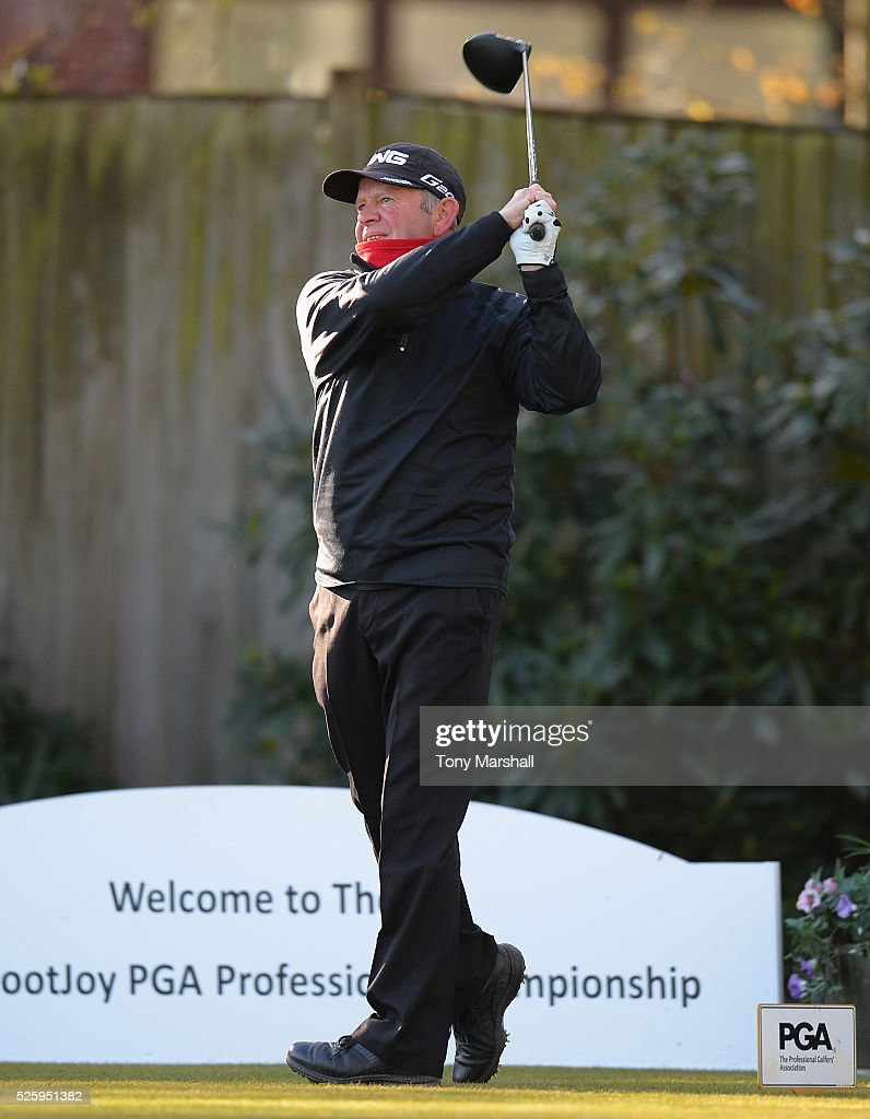 Barrie Stevens of Beau Desert Golf Club plays his first shot on the 1st tee during the PGA Professional Championship - Midland Qualifier at Little Aston Golf Club on April 29, 2016 in Sutton Coldfield, England.
