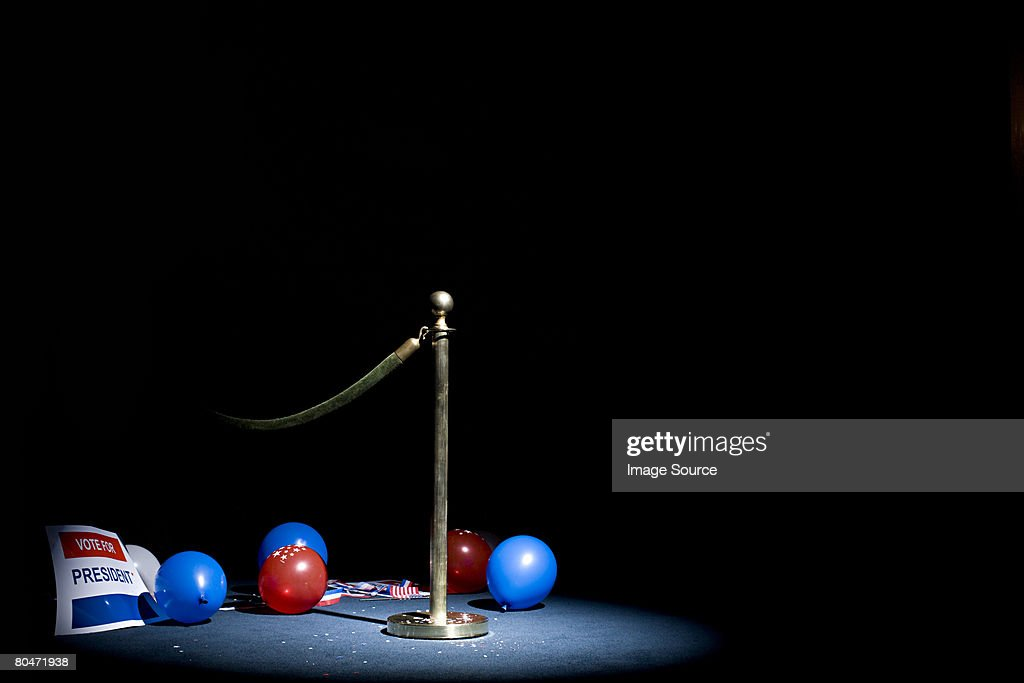 A barrier and balloons : Stock Photo