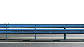 Barrier, guard rail, designed to prevent the exit of the vehicle from the curb or bridge, moving across the dividing strip. guarding rail panorama isolated on white background