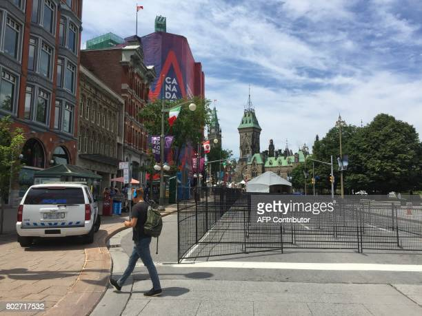 Barriers are set up near Parliament Hill in Ottawa on June 28 as Canadian prepare to celebrate the 150th anniversary of confederation Security has...
