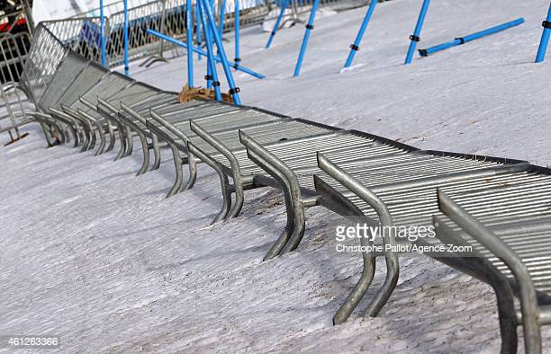 Barriers lie on the ground after a windstorm which forced the Audi FIS Alpine Ski World Cup Women's Downhill to be cancelled on January 10 2015 in...