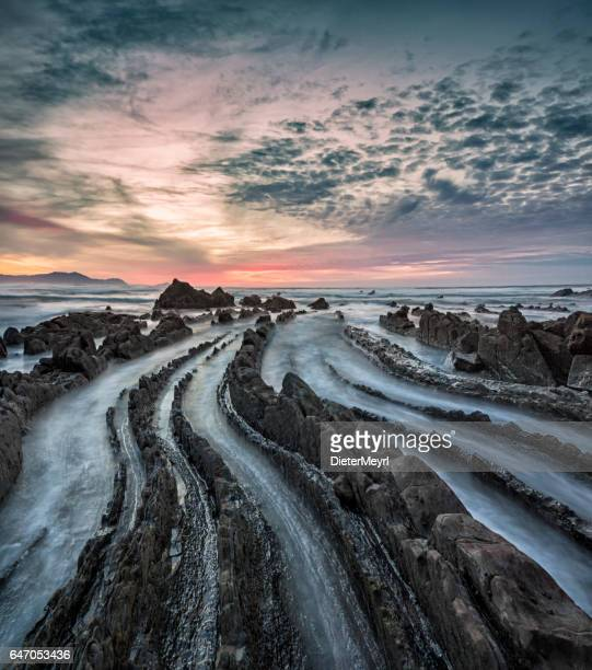 Barrika beach at sunset - Spain, Bay of Biscay