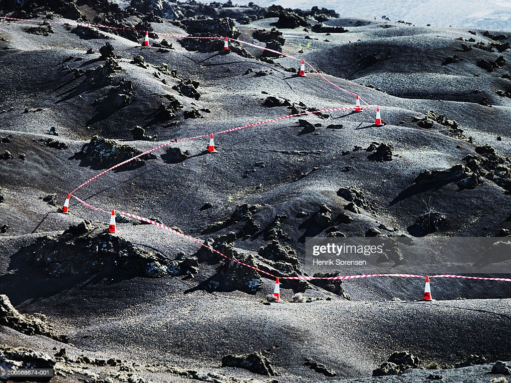Barring line going through desert, elevated view : Stock Photo