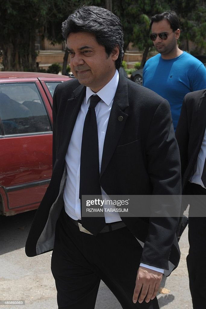 Barrister Farogh Naseem, the counsel for former Pakistani military ruler Pervez Musharraf, leaves the high court after submitting a petition in Karachi on April 21, 2014. The Sindh High Court on April 21 accepted the plea made by former President and army chief of Pakistan Pervez Mushrraf to remove his name from the Exit Control List (ECL). AFP PHOTO/Rizwan TABASSUM