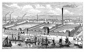 19th century illustration of flax and jute mills in Barrow-in-Furness, Cumbria, England. Published in 'The Practical Magazine, an Illustrated Cyclopedia of Industrial News, Inventions and Improvements