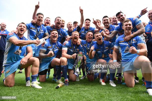 Barrow Raiders celebrate winning the Rugby League 1 Cup Final match between Barrow Raiders and North Wales at Bloomfield Road on May 27 2017 in...