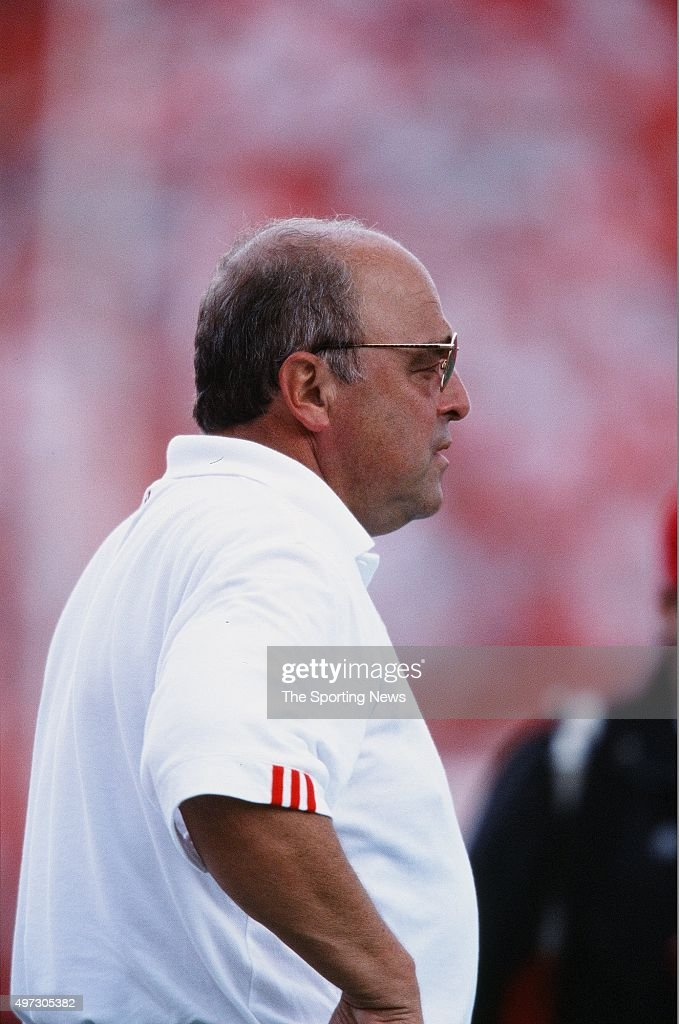 <a gi-track='captionPersonalityLinkClicked' href=/galleries/search?phrase=Barry+Alvarez&family=editorial&specificpeople=239480 ng-click='$event.stopPropagation()'>Barry Alvarez</a> of the Wisconsin Badgers looks on against the Fresno State Bulldogs on September 8, 2001.