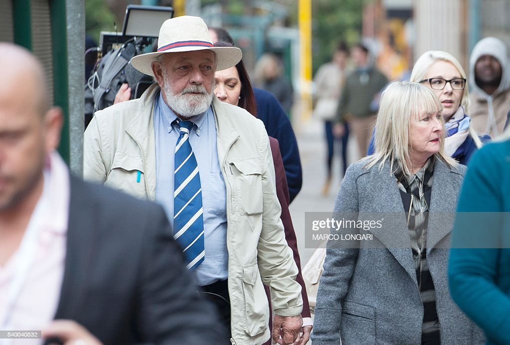 Barry and June Steenkamp parents of late Reeva Steenkamp arrive at the Pretoria High Court on June 14 2016 on the second day of South African...