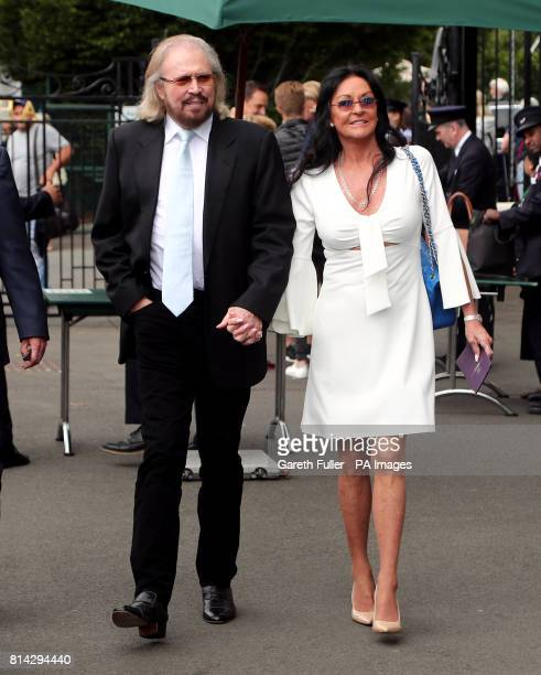 Barry and Linda Gibb arrive on day eleven of the Wimbledon Championships at The All England Lawn Tennis and Croquet Club Wimbledon