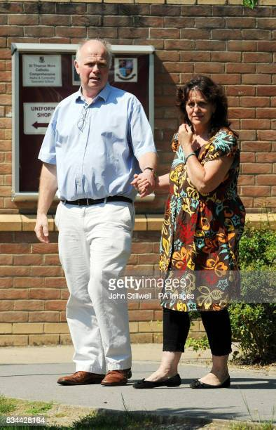 Barry and Margaret Mizen arrive to talk to the media in the grounds of St Thomas More School in Eltham South East London where their son 16 yearold...
