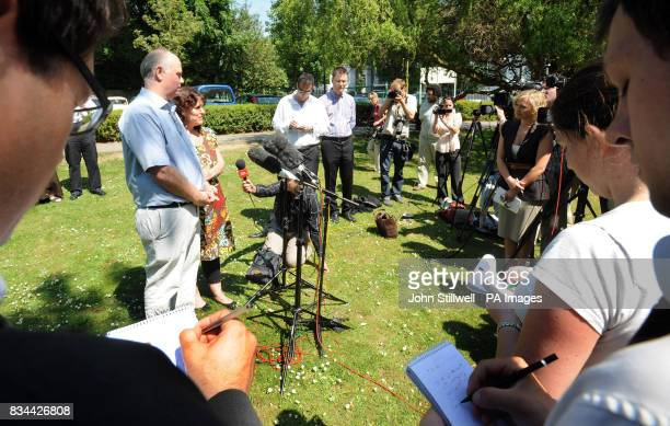 Barry and Margaret Mizen talk to the media in the grounds of St Thomas More School in Eltham South East London where their son 16 yearold Jimmy Mizen...