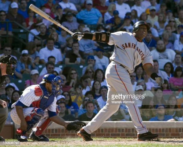 Barry Bonds goes down swinging during game action at Wrigley Field Chicago Illinois where the San Francisco Giants beat the Chicago Cubs by a score...