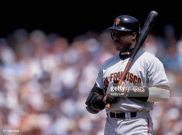 Barry Bonds of the San Francisco Giants during 2002 game in Los Angeles Calif
