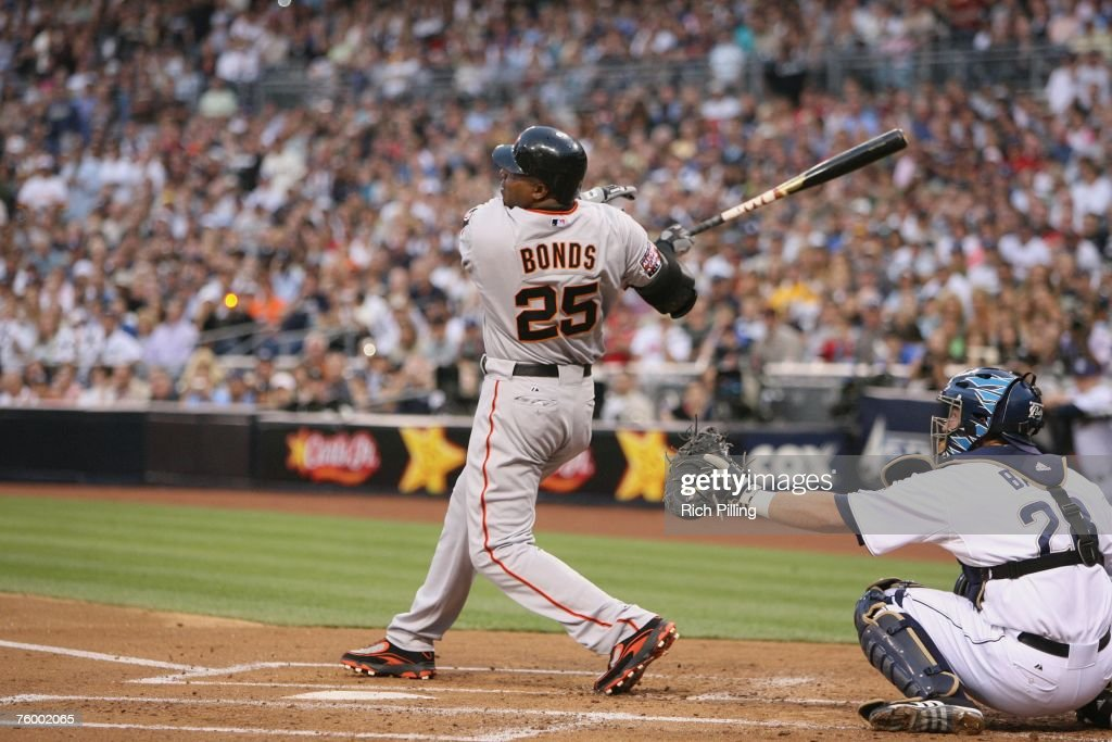 Barry Bonds Of The San Francisco Giants Hits Career Home Run 755 During Game