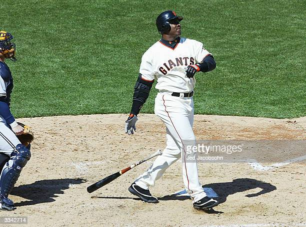 Barry Bonds of the San Francisco Giants hits his 660th career home run tying his godfather Willie Mays for third on the all time career home runs...