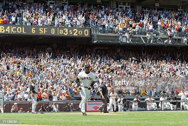 Barry Bonds of the San Francisco Giants hits his 715th career home run passing Babe Ruth for second place on the alltime home run list in the fourth...