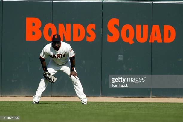 Barry Bonds of the San Francisco Giants in left field during the NLDS Game 1 at Pac Bell Park in San Francisco Ca