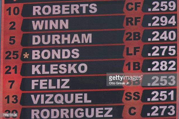 Barry Bonds of the San Francisco Giants is shown in the lineup on the scoreboard during the game against the Florida Marlins on July 29 2007 at ATT...