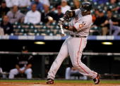 Barry Bonds of the San Francisco Giants launches his 762nd career home run off of Ubaldo Jimenez of the Colorado Rockies in the first inning to give...