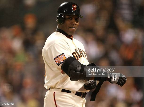 Barry Bonds of the San Francisco Giants looks on during his game against the San Diego Padres during a Major League Baseball game on September 26...