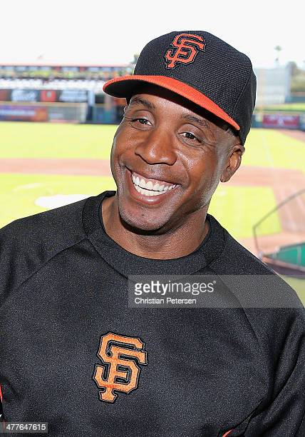Barry Bonds of the San Francisco Giants speaks during a press conference about his return to the organization as a special hitting coach for one week...