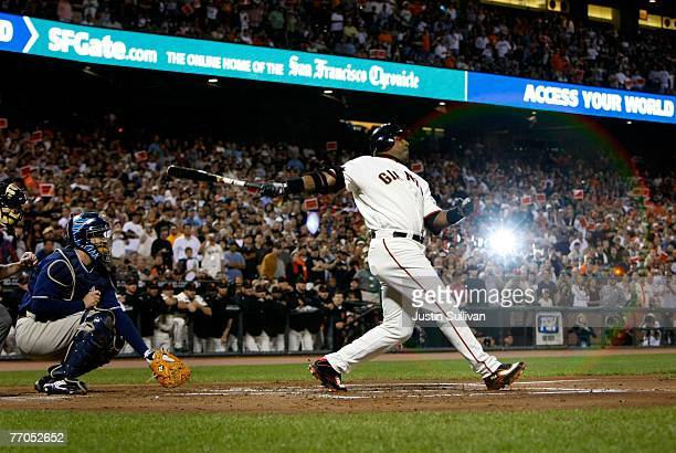 Barry Bonds of the San Francisco Giants swings at a pitch during the first inning against the San Diego Padres September 26 2007 at ATT Park in San...