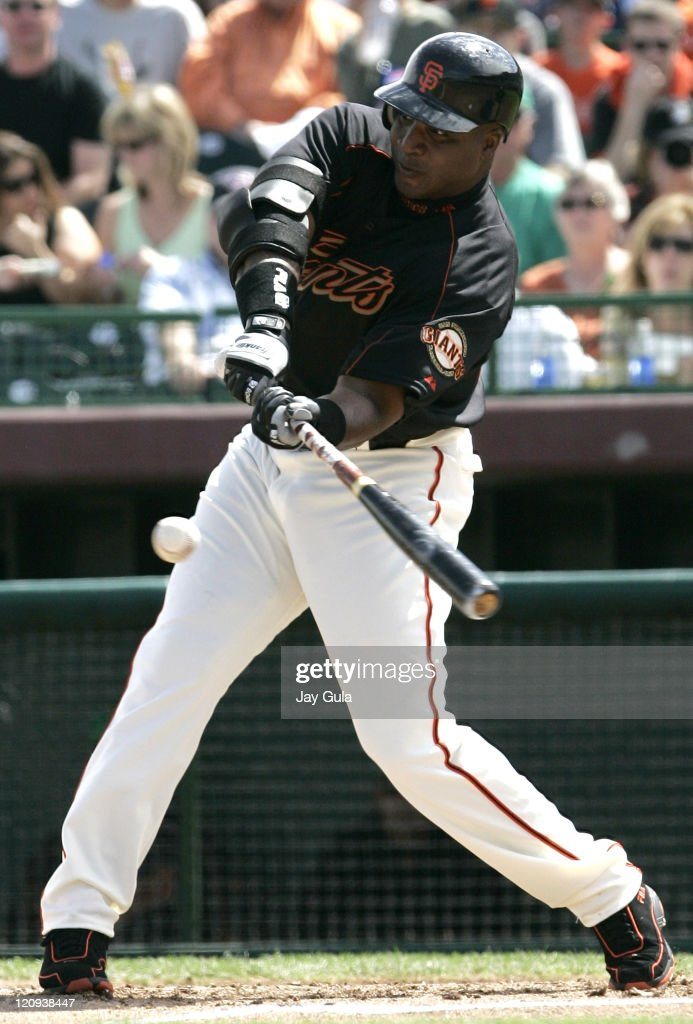 Barry Bonds singles to RF in Cactus League action against the Cubs at Scottsdale Stadium in Scottsdale Arizona on March 17 2006