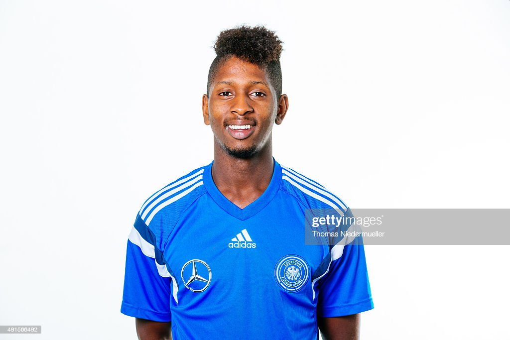 Barry Boubacar poses during a photocall of the Under 20 National Football Team on October 6, 2015 in Ulm, Germany.