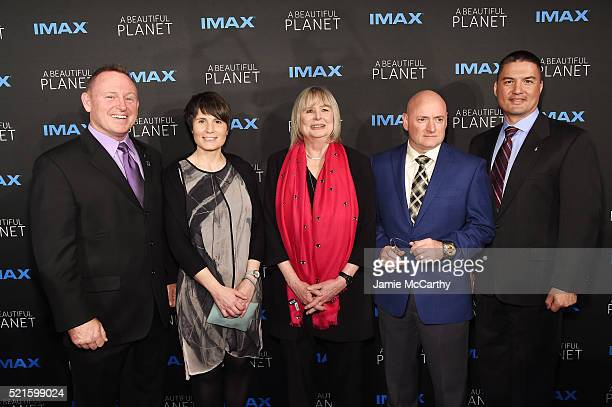 Barry 'Butch' E Wilmore Samantha Cristoforetti Toni Myers Scott Kelly and Dr Kjell N Lindgren attend the New York premiere of 'A Beautiful Planet' at...