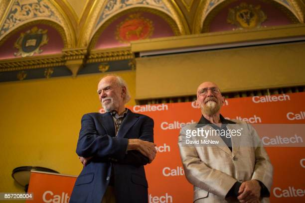 Barry C Barish and Kip S Thorne attend a press conference at California Institute of Technology after receiving the 2017 Nobel Prize in Physics...