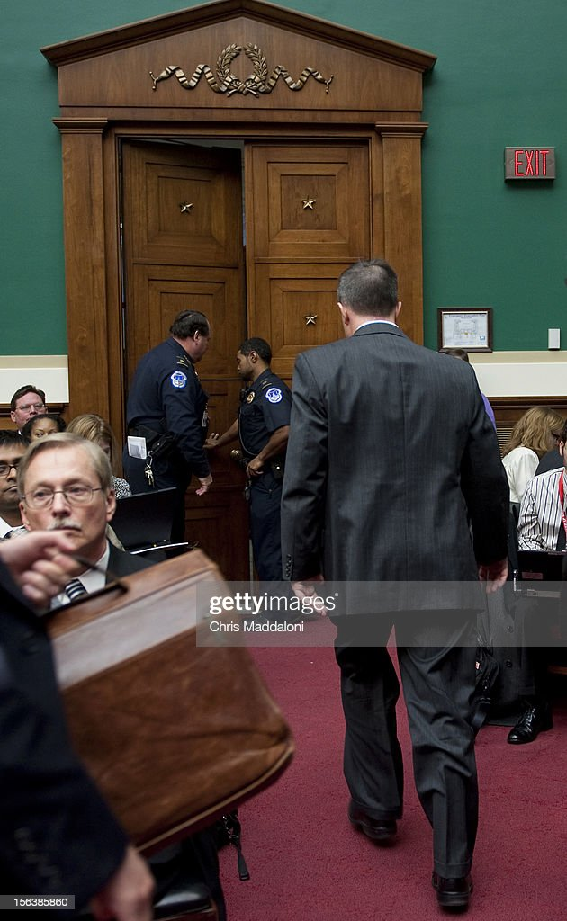Barry Cadden, president, co-owner and director of pharmacy at the New England Compounding Center, leaves a House Energy and Commerce Oversight subcommittee hearing on 'The Fungal Meningitis Outbreak: Could It Have Been Prevented?' He invoked the Fifth Amendment to all questions.