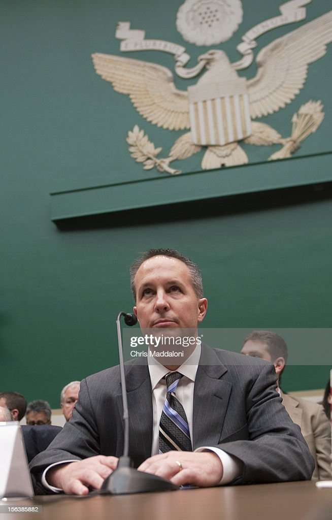 Barry Cadden, president, co-owner and director of pharmacy at the New England Compounding Center, at a House Energy and Commerce Oversight subcommittee hearing on 'The Fungal Meningitis Outbreak: Could It Have Been Prevented?' He invoked the Fifth Amendment to all questions.