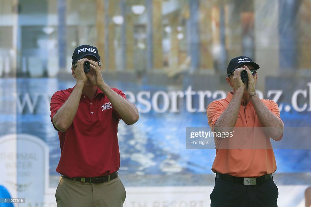 Barry Conser of United States and Chris Williams of South Africa use their measuring devices on the 17th tee during the the first round of the Swiss Seniors Open played at Golf Club Bad Ragaz on July 1, 2016 in Bad Ragaz, Switzerland.