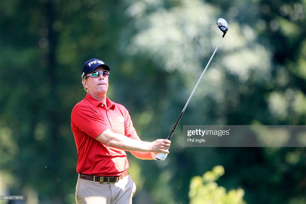 Barry Conser of United States in action during the the first round of the Swiss Seniors Open played at Golf Club Bad Ragaz on July 1, 2016 in Bad Ragaz, Switzerland.