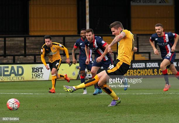 Barry Corr of Cambridge United misses from the spot during the Emirates FA Cup Second Round match between Cambridge United and Doncaster Rovers at...