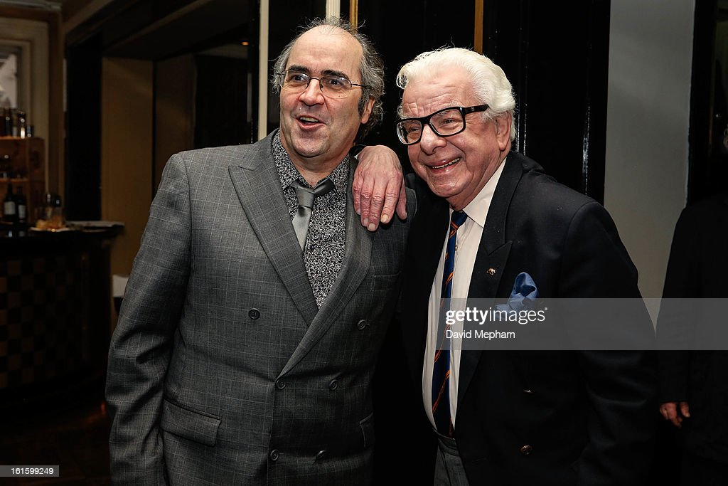 Barry Cryer (R) and Danny Baker attends the Oldie of the Year Awards at Simpsons in the Strand on February 12, 2013 in London, England.