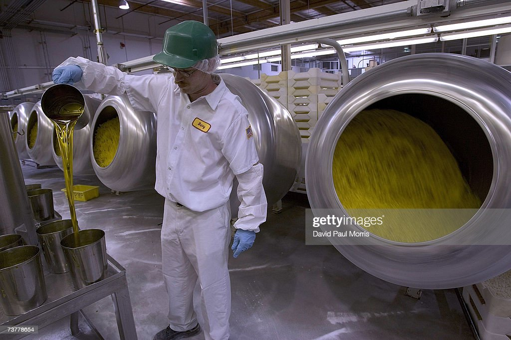 Barry DaSilva mixes flavoring to add to jelly beans at the Jelly Belly Factory April 2, 2007 in Fairfield, California. The Jelly Belly Factory produces approximately 14 billion jelly beans a year. With less than a week before Easter Sunday, retailers stock their shelves full of jelly beans, chocolates, and other traditional candies for Easter.
