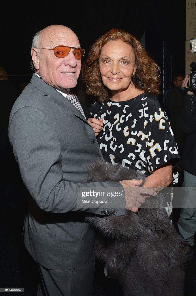 <a gi-track='captionPersonalityLinkClicked' href=/galleries/search?phrase=Barry+Diller&family=editorial&specificpeople=208116 ng-click='$event.stopPropagation()'>Barry Diller</a> and designer Diane Von Furstenberg at the Diane Von Furstenberg Fall 2013 fashion show during Mercedes-Benz Fashion at The Theatre at Lincoln Center on February 10, 2013 in New York City.